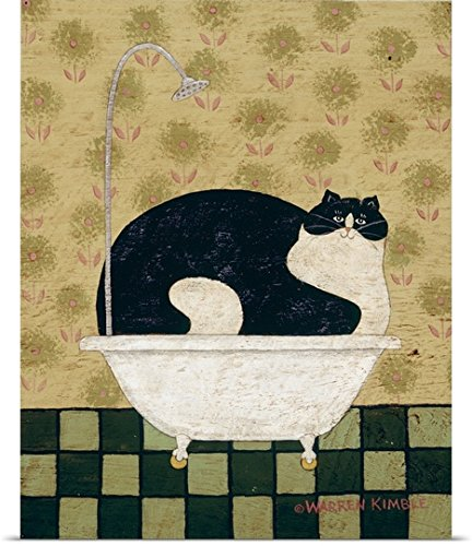 Print entitled Cat in a Hot Tin Tub (Warren Kimble Americana)