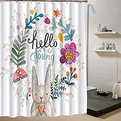 SeaCloud The Rabbit Shower Curtain Set By Cute With Love Say Hello To Us And Flower Is Smiling Everybody In SpringBathroom