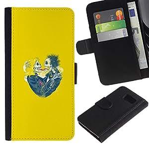 A-type (Cráneo amarillo novia Amor de primavera divertido) Colorida Impresión Funda Cuero Monedero Caja Bolsa Cubierta Caja Piel Card Slots Para Samsung Galaxy S6
