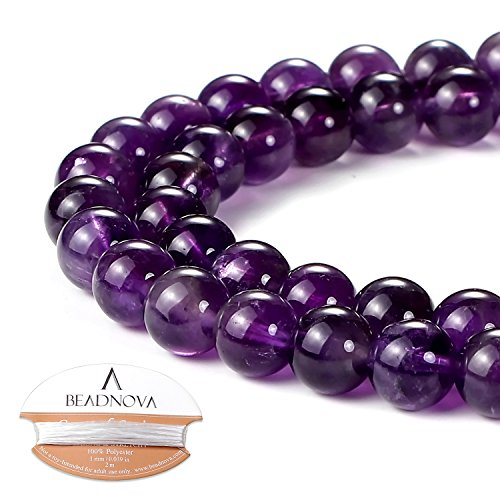 BEADNOVA 8mm Natural Amethyst Purple Quartz Gemstone Round Loose Beads for Jewelry Making (45-48pcs) by BEADNOVA