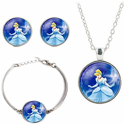 Domed Dog Tag Necklace - Disney's Princesses Glass Domed Pendant Necklace, Earring, Braclet Jewelry Set (Cinderella)