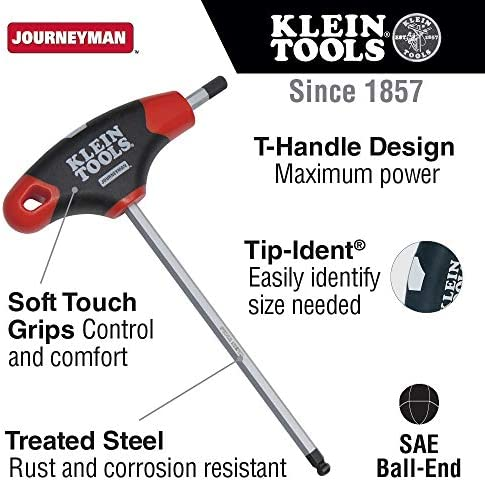 1 2 Inch Ball End Hex Key With Journeyman T Handle 6 Inch Klein Tools Jth6e17be Amazon Com