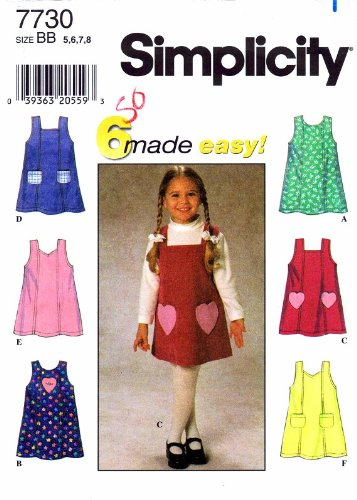 Sweetheart Jumper (Simplicity Pattern 7730 Girl's Jumper, Size BB (5-6-7-8))