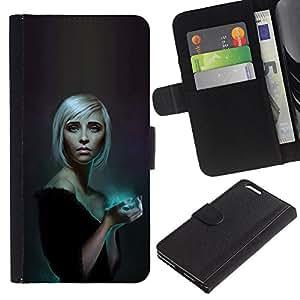 KLONGSHOP // Tirón de la caja Cartera de cuero con ranuras para tarjetas - Azul resplandor Rubio - Apple Iphone 6 PLUS 5.5 //