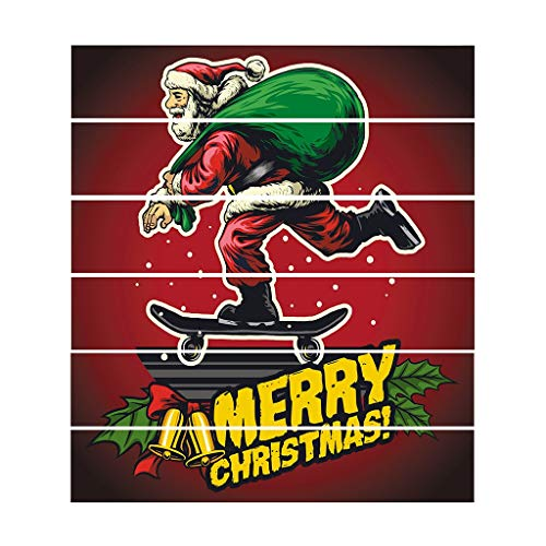 Jeash 6Pcs/Set 3D Santa Claus Riding on Sleigh Stair Stickers Snowflake Snowman Elk Stickers Self-Adhesive Christmas Xmas Party Home Decor (J)