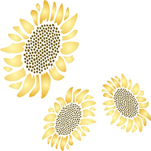 Sunflower Wallpaper Cut Outs - Sunflower Mural Stencil - (size 10.5