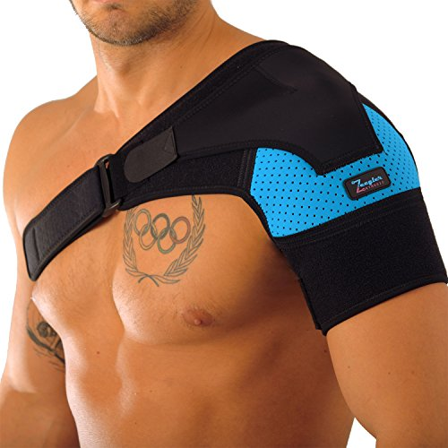 Shoulder Cuff - Shoulder Support Brace - Adjustable Sleeve, With Compression Pad & E-Book by Zeegler Orthosis - Therapy for Pain Relief and Injuries like Dislocated AC Joint, Bursitis, Rotator Cuff, Labrum Tear