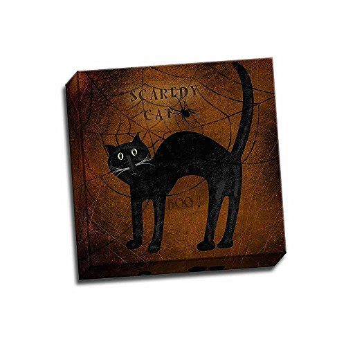 Scaredy Cat 12x12 Stretched Canvas Folk Art Print Halloween Spider Web Country Animals Wall Hanging
