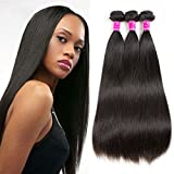 Cheap Brazilian 8a Straight Hair 3 Bundles Virgin Unprocessed Human Hair Extensions Natural Black Color (14.16.18, natural color)