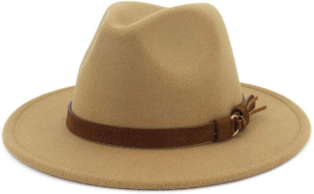 Lisianthus Men & Women Vintage Wide Brim Fedora Hat with Belt Buckle
