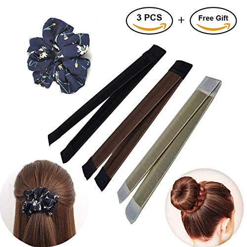 4 Pcs Donut Hair Bun Maker Kit, Bun Magic Curler Clip Shaper,Fashion Hair Styling Disk, Hair Bun Making Styling DIY Hair Band Accessory with Hair Scrunchy Elastics Ties by SunOne