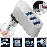 Sabrent Premium 3-Port Aluminum Mini USB 3.0 Rotatable Hub [90°/180° Degree Rotatable] (HB-R3MC)