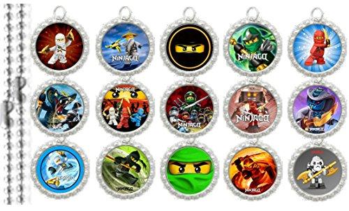15 Ninjago SILVER Bottle Cap Pendant Necklaces Set 1 - Bottle Cap Pendants Set