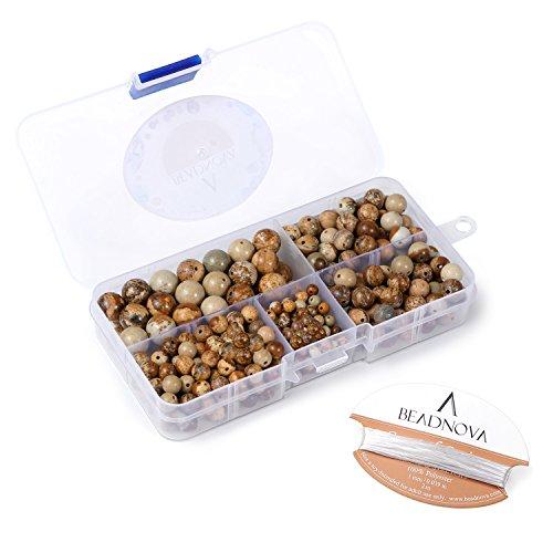 BEADNOVA Natural Brown Picture Jasper Round Beads Healing Power Energy Stone Gemstone Beads for Jewelry Making (340pcs/box, 4mm/6mm/8mm/10mm)