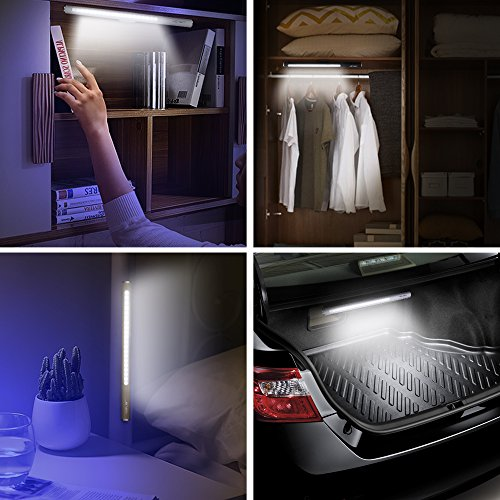 JSVER Wireless LED Touch Light USB Rechargeable with Magnetic Strip for Cupboard Step Wardrobe, White by JSVER (Image #4)