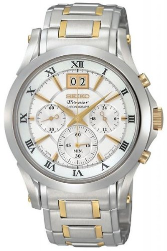 Premier White Dial (Seiko Men's SPC058 Chronograph Two-Tone Stainless Steel Case White Dial Watch)