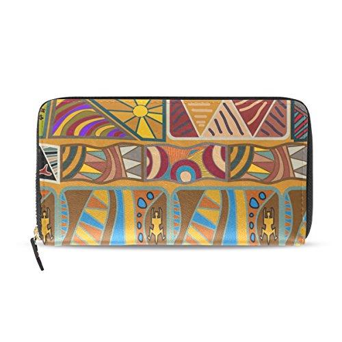 Womens Zipper Wallet Africa Art Culture Mr Paisley Clutch Purse Card Holder Bag by WIHVE