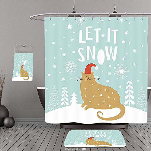 Uhoo Bathroom Suits Shower Curtains Floor Mats And Bath TowelsChristmas Let It Snow Quote Cute Kitty Cat With Santa Claus Hat Graphic Seafoam Sand