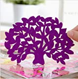 *Purple 6-Pack Modern Home Decor Felt Tree Shape Flat Coaster Cup Insulation Mat for Home dinning wedding party banquet design favor (pack of 6 - same color)