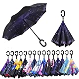 AmaGo Double Layer Inverted Umbrella - Upside Down Inside Out Reverse Umbrella,C-Shape Handle & Self-Stand to Spare Hands, Carrying Bag for Traveling