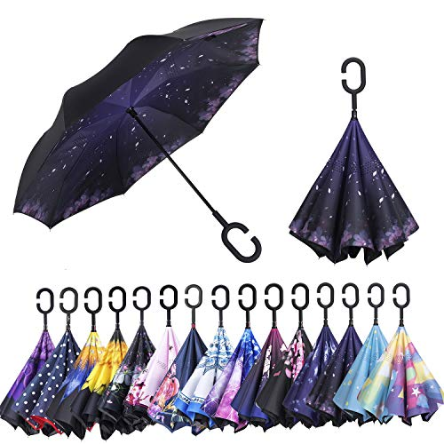 (AmaGo Windproof Inverted Umbrella - UV Protection Double Layer Reverse Folding Long Self Standing Umbrella with C-Shape Handle for Car Rain Outdoor Travel (Cherry Blossom))