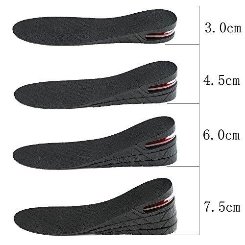 Raise Air Hauteur Augmentation Semelles Couches Ascenseur Semelles la de Femmes Trousse pour Hommes de 4 Insertion Heel Up Panrock Chaussures IPwFqxx