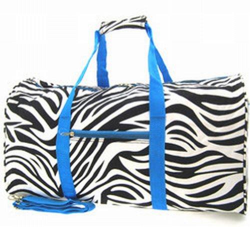 Zebra Blue Trim Duffle Bag 22″, Bags Central