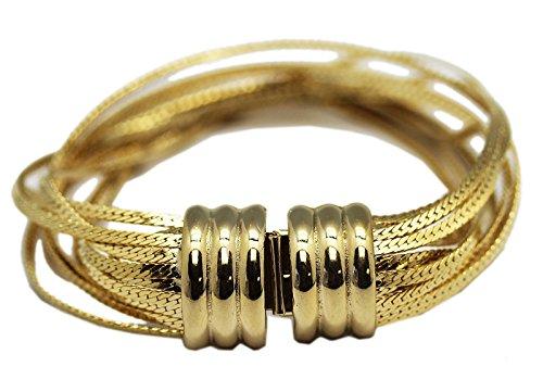 Multi Strand Snake - Golden Multi-Strand Herringbone Chain Bracelet