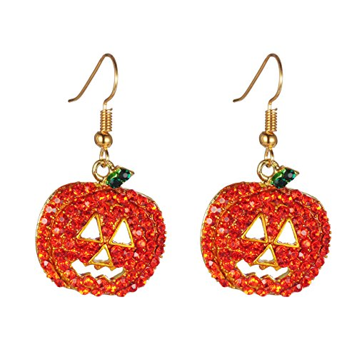 (iWenSheng Halloween Pumpkin Earrings Red - Hypoallergenic Crystal Dangle Earring for Women Girls Kids Holiday Night Costume Jewelry Smiling Face Pumpkin Drop Earrings, Fun and)