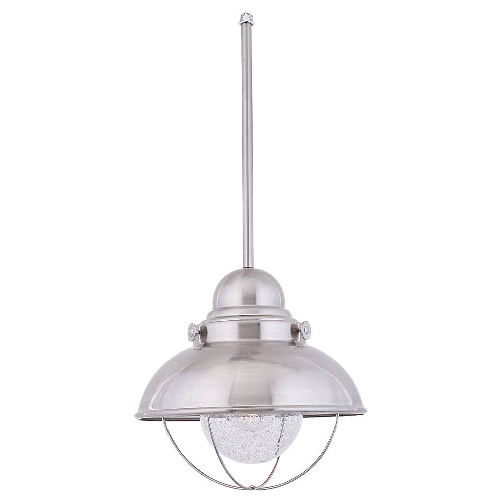 sea gull lighting sebring onelight outdoor minipendant with clear seeded glass brushed stainless finish sebring fixture by sea gull lighting