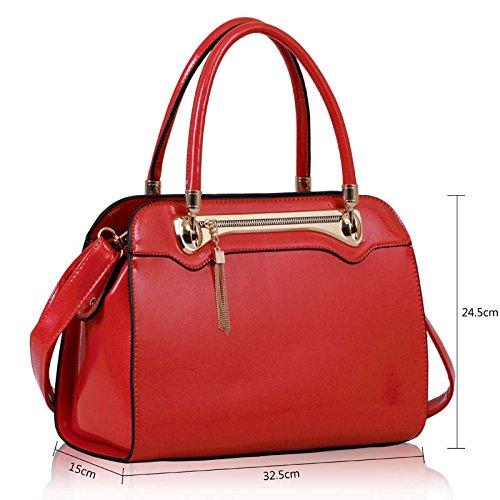 ANNA GRACE - Bolso de asas de piel sintética para mujer Design 1 - Red