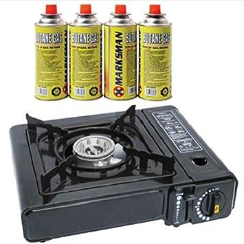 Estufa de cocina portátil, a gas + 4 botellas de butano de recambio para pesca, picnic, campamento, elemento de cocina, parrilla, barbacoa, ...