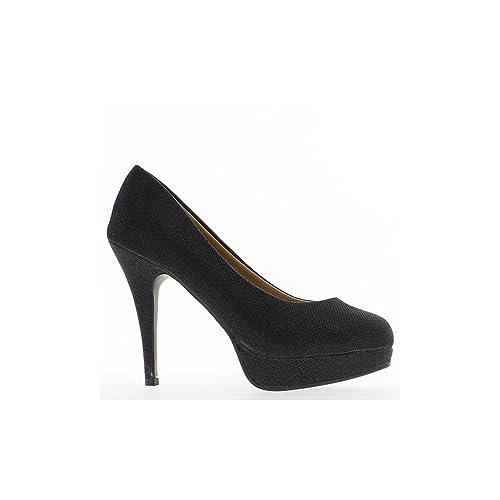 Piattaforma e scarpe grande vita femmina nero paillettes tacco di 12 cm - 41 6d8d4b5f801