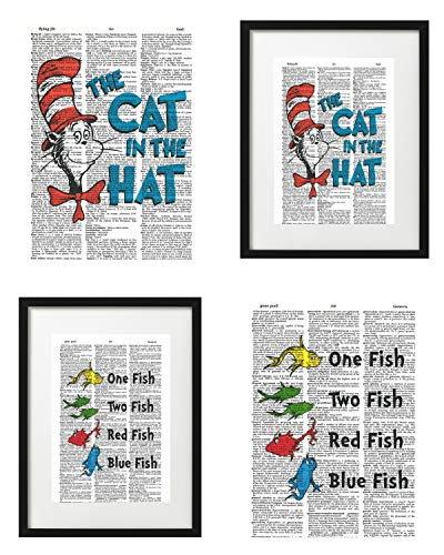 Signature Studios Dr. Suess Photos Cat in The Hat One Fish Two Fish Set of (2) Dictionary Art Prints Kids Room Decor 8x10 ()