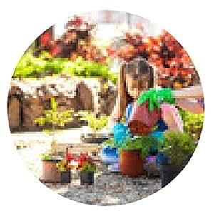 alfombrilla de ratón La madre y la hija de plantar flores juntos. - ronda - 20cm