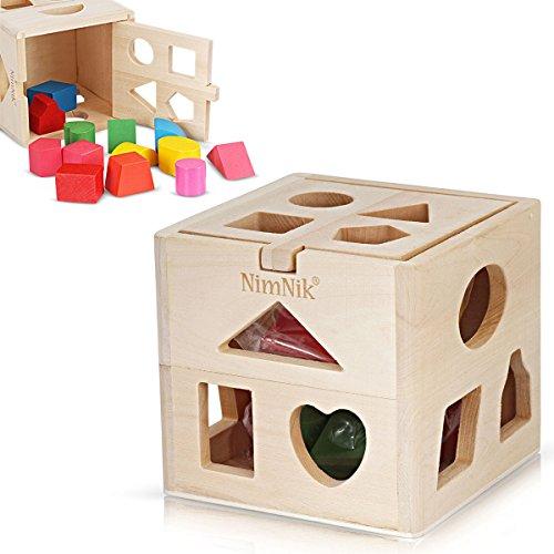 Cube de Tri de Formes Traditionnel en Bois Premier Jeu de Formes à Trier pour Bébé Tri de Formes pour Apprentissage Précoce pour enfants de 3 ans par NimNik