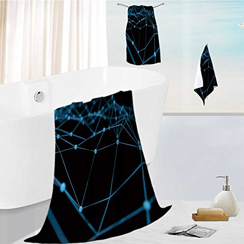 Price comparison product image 3-Piece Luxury Hotel / Spa 100% Turkish Cotton Striped Towel Set blockchain network machine learning deep learning and neural networks concept blue distributed Hand Towels and Washcloths