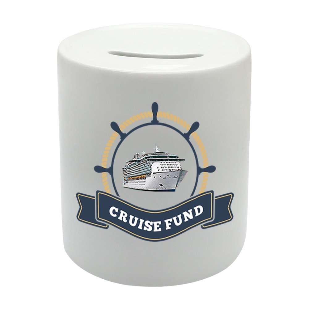 Coralgraph Inc BS068 CRUISE FUND Novelty Gift Printed Ceramic Piggy Bank Money Saving Box