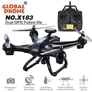 Southey Global Drone X183 With 5GHz WiFi FPV 1080P Camera GPS Quadcopter - With 5.8G Real-time Transmission+Contains 360° Fixed-Point Surround+Automatic Follow Function (Black)