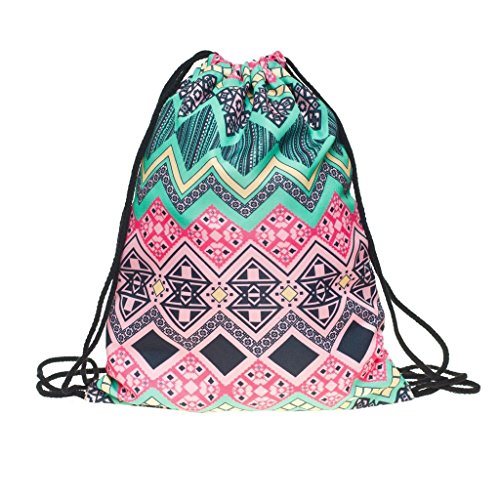 Ababalaya 3D Print Drawstring Backpack Rucksack Shoulder Bags Gym Bag, ()