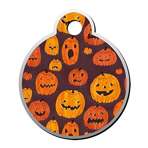 Halloween Pumpkin Light Pet Id Tags Personalised Stainless Steel Double Sided for Dogs Cats Funny Idea]()