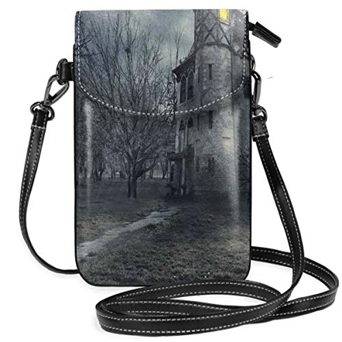 Women Small Cell Phone Purse Crossbody,Halloween Design With Gothic Haunted House Dark Sky And Leafless Trees Spooky Theme -