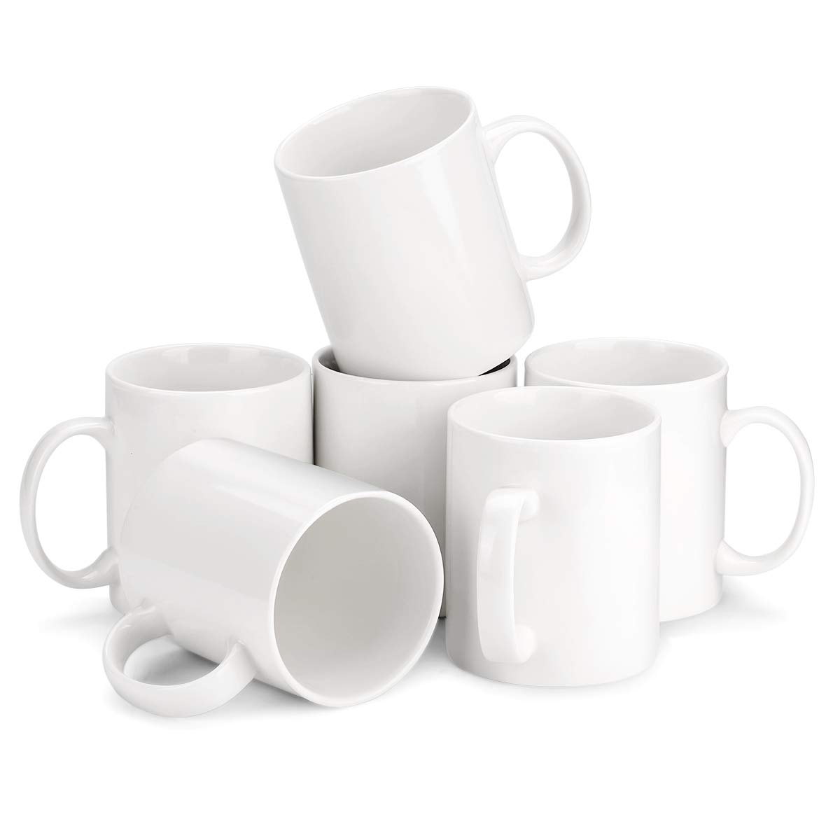 MIWARE 12 Ounce Porcelain Mug Set - 6Packs, Tea and Coffee Mugs, White