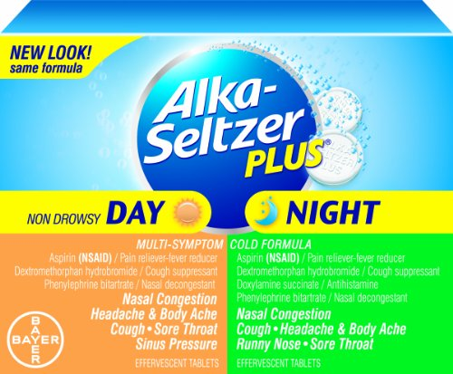 Alka-seltzer Plus Day/Night Effervescent Combo Pack, 20 Count (Pack of 2)