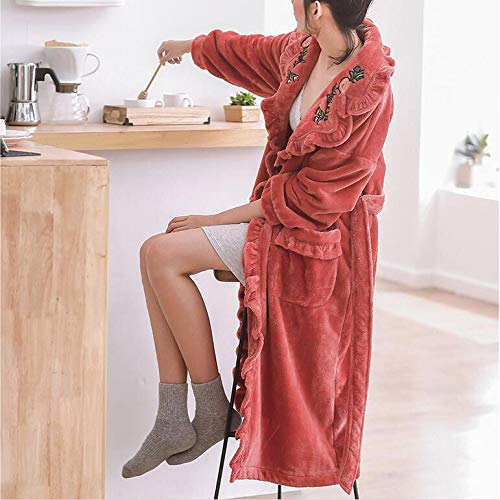 Engrosada Sexy Mujer Moda Albornoz Para Camisón Coral Cálido Pomegranatered Olliuge Pijamas Invierno Mujeres Terciopelo Las Franela De APqWzwx4