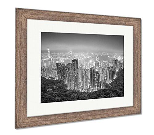 Ashley Framed Prints Hong Kong China City Skyline From The Peak, Wall Art Home Decoration, Black/White, 26x30 (frame size), Rustic Barn Wood Frame, (China Art Hong Kong)