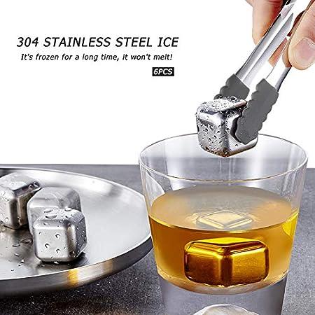 Yisscen Cubitos de Hielo de Acero Inoxidable para Whisky, 6 Cubos Whisky Piedras Hielos Reutilizable con Pinzas y Caja Juego de Piedras de Whisky per Refrigeración Whisky Gin Vino Jugo Bebidas 5Pcs