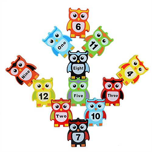 Uping 12PCS Owl Shapes Balance Game Toy Stacking Blocks Toys | Wooden Children Stacking Toy | Ideal Christmas Gift Birthday Gift for Children