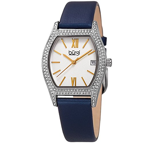 Burgi Women's Matte White Dial with Swarovski Crystal Accented Silver-Tone Case on Genuine Leather Navy Strap Watch BUR166BU