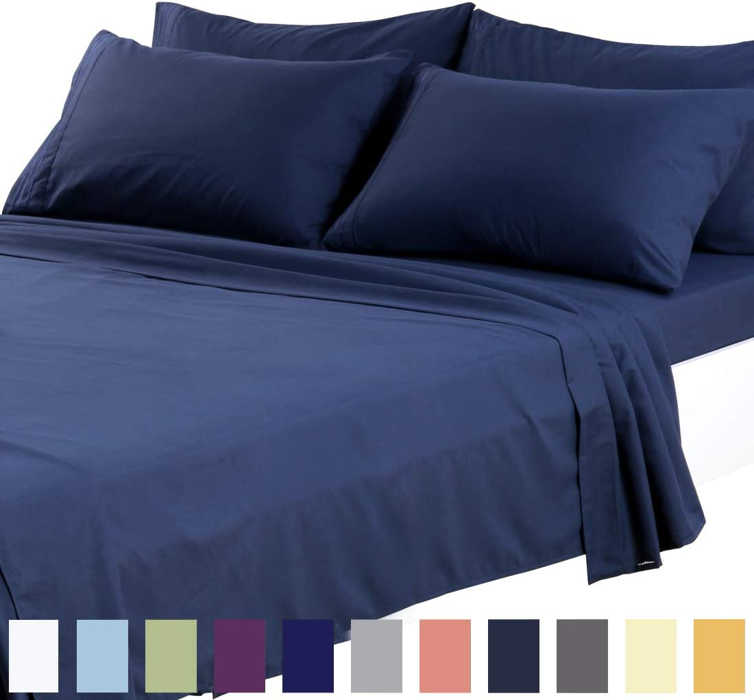 TEKAMON Queen Bed 6 Piece Sheet Set Cooling 100% Microfiber Polyester Extra Deep Pocket Fitted Sheet Luxury Soft,Breathable,Wrinkle and Fade Resistant Flat Sheet Navy Blue